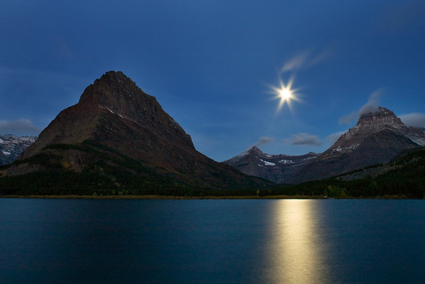 Moonrise Many Glacier Lake, Glacier Naitonal Park